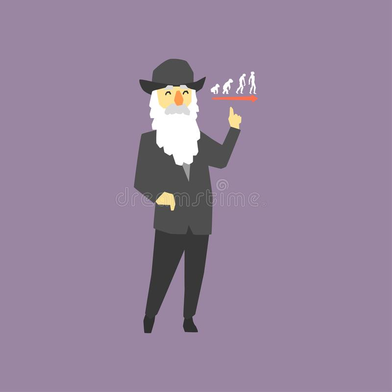 Free Famous Naturalist And Geologist - Charles Darwin. Originator Of Biological Theory Of Evolution. Cartoon Old Man With Royalty Free Stock Image - 109341926