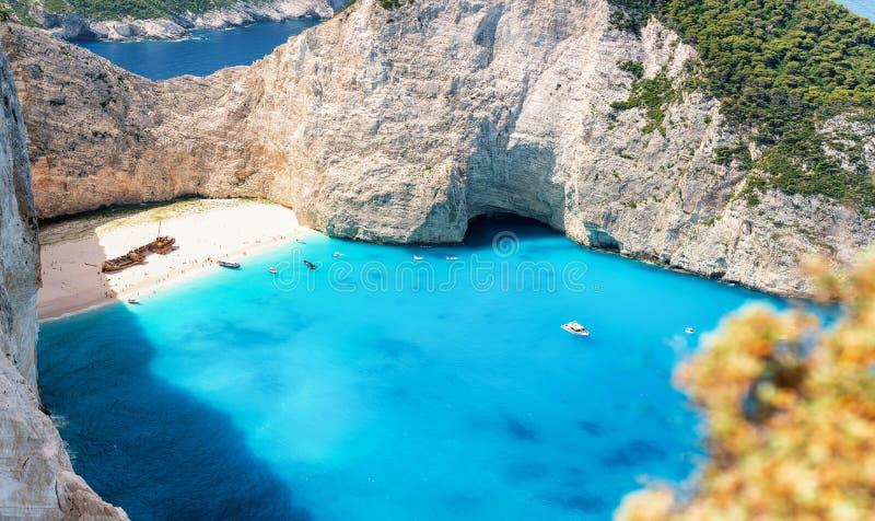 The famous Navagio shipwreck beach on the Ionian island of Zakynthos, Greece stock photo