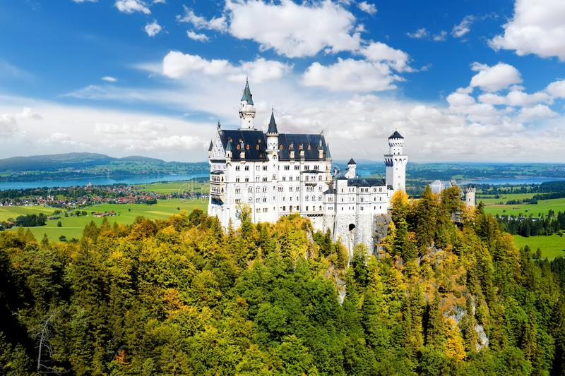 Famous Neuschwanstein Castle, fairy-tale palace on a rugged hill above the village of Hohenschwangau near F�ssen stock image