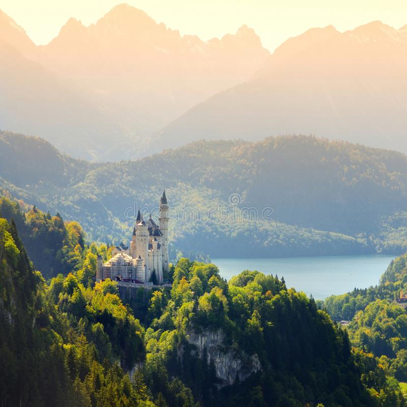 Famous Neuschwanstein Castle, fairy-tale palace on a rugged hill above the village of Hohenschwangau near F�ssen stock photo
