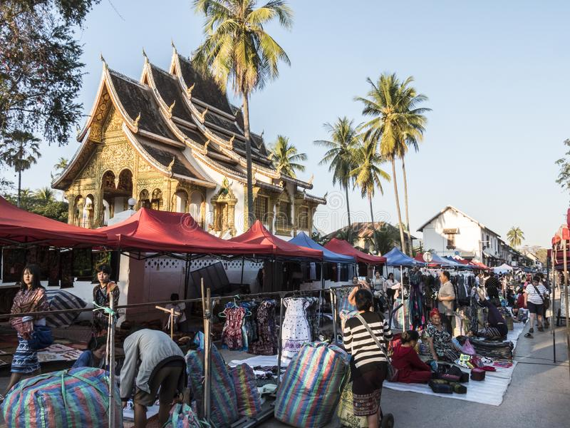 Night market of Luang Prabang stock images