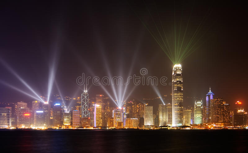 Famous night scenes of rays show in Hong Kong stock image