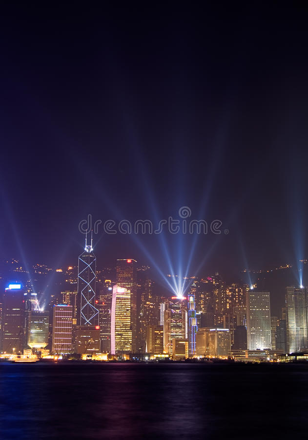 Famous night scenes of rays show in Hong Kong stock images