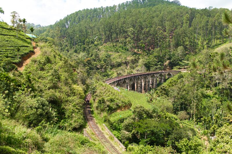 The famous nine-arch bridge of the railway in the jungle in Sri Lanka.  royalty free stock image