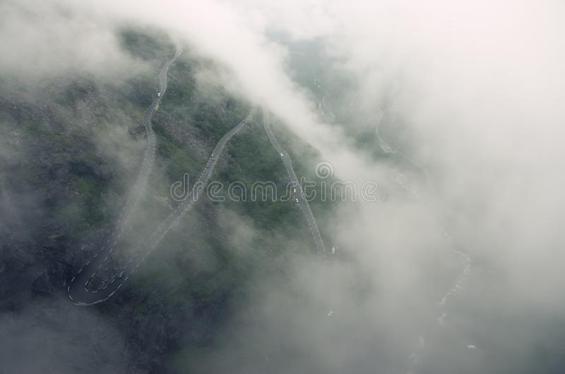 Famous Norweigan mountain road Trollstigen in the fog, Norway, Europe stock photo