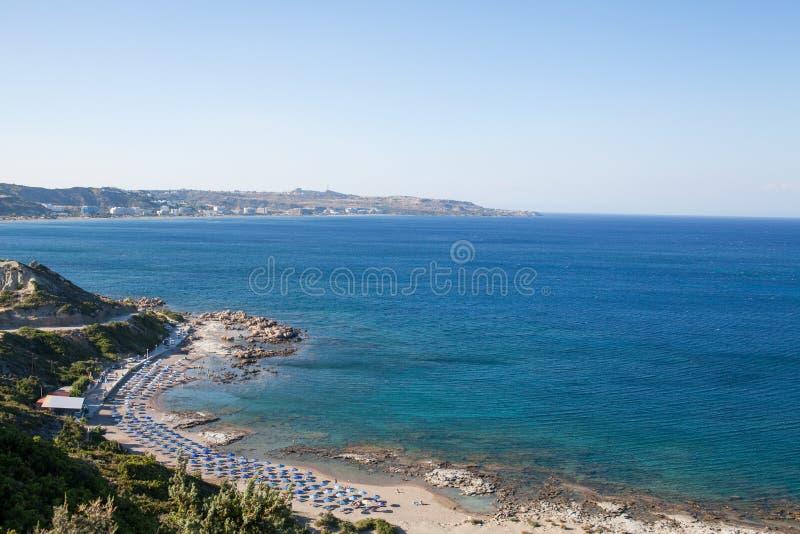 Famous nudist beach in Faliraki. Top view of the beach in Rhodes stock photo