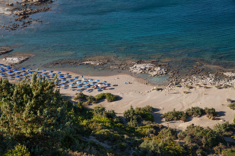 Famous nudist beach in Faliraki. Top view of the beach in Rhodes royalty free stock photography