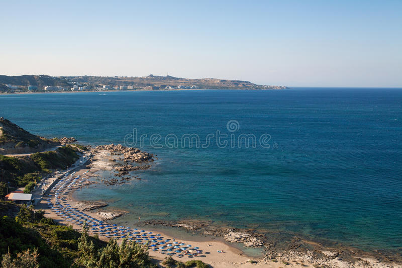 Famous nudist beach in Faliraki. Top view of the beach in Rhodes stock photography