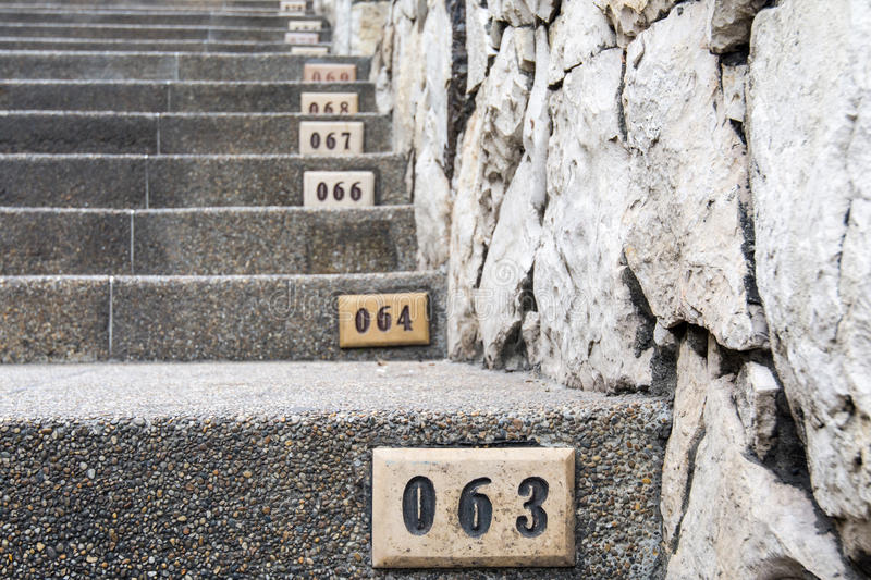 Famous numbered stairs of Las Penas, Guayaquil, Ecuador stock image