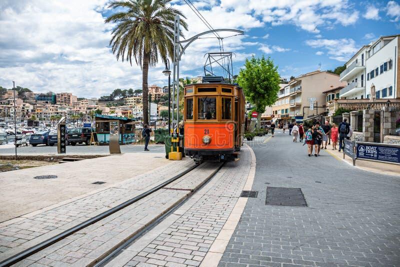 The famous old tram of Port de Soller, Palma Mallorca, Spain stock photos