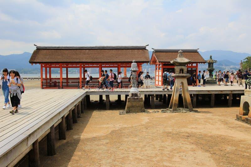The famous orange floating shinto gate. Miyajima island of Hiroshima prefecture stock images