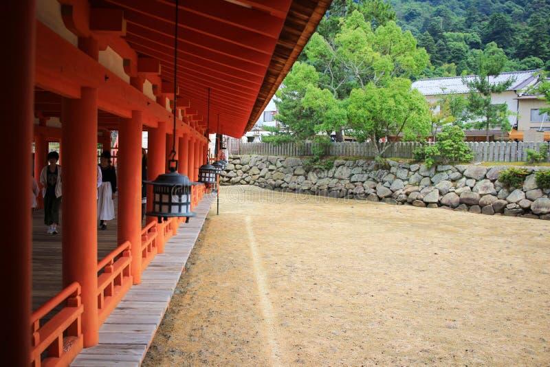 The famous orange floating shinto gate. Miyajima island of Hiroshima prefecture royalty free stock images