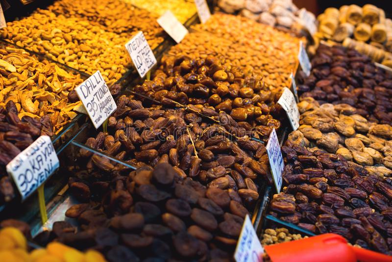 The famous oriental market. Typical dates in Istambul, Turkey royalty free stock photo