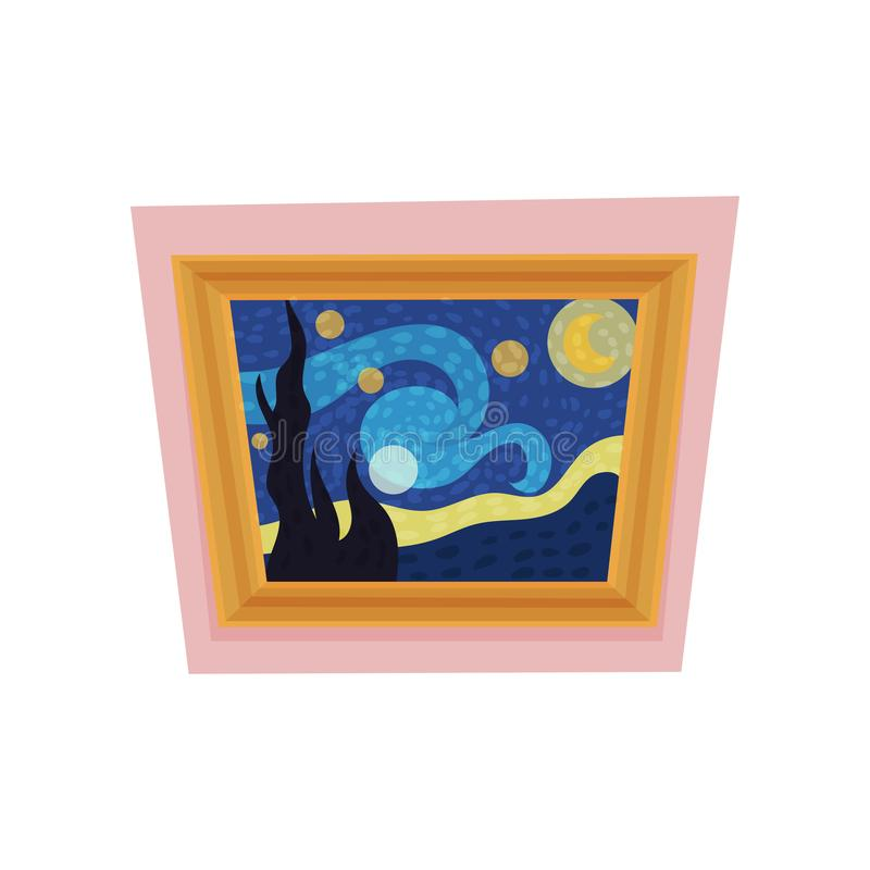 Famous painting of starry night by Vincent van Gogh. Museum exhibit. Art gallery theme. Flat vector for advertising. Cartoon icon of famous painting of starry vector illustration