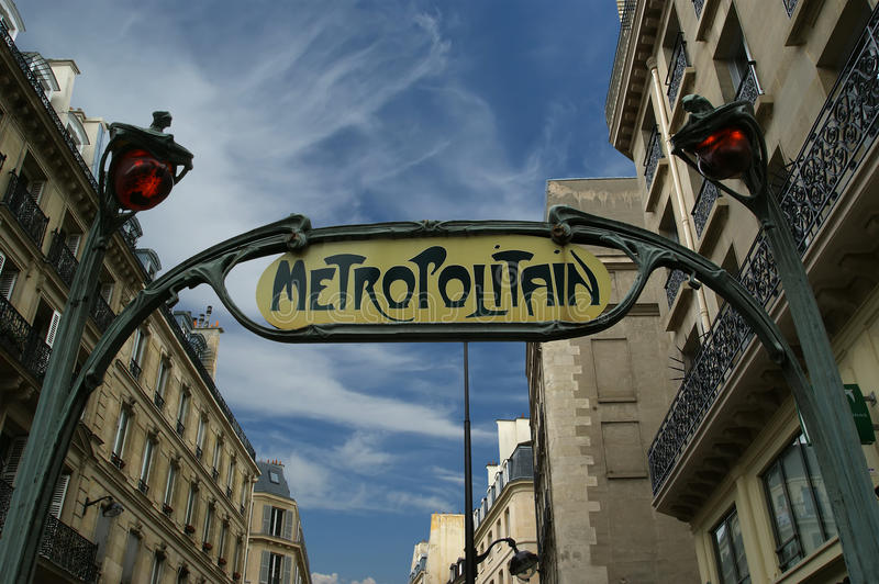 Famous Paris Metro Sign, France.  royalty free stock image