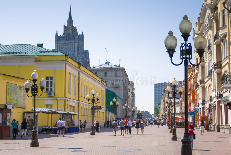 Famous pedestrian Arbat Street in Moscow, Russia stock images