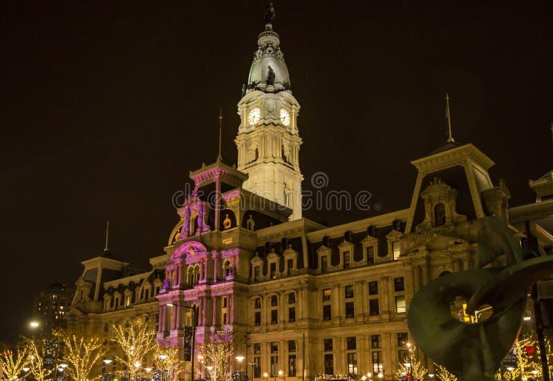 Philadelphia city hall by night, Pennsylvania USA royalty free stock photos