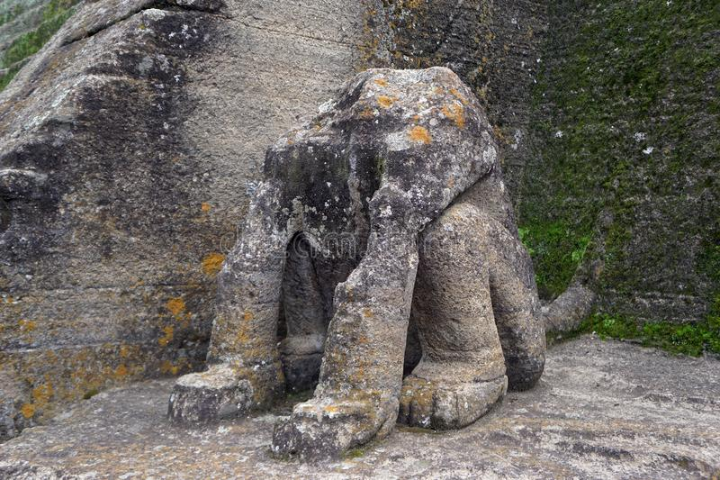 Malinalco pyramid feline sculpture. Famous piece made of stone carved by hand, representing a big feline figure sited, broken archaeological piece of stone royalty free stock photo