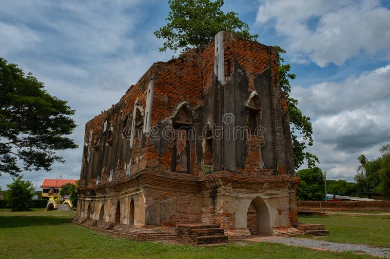 Famous place in Angthong Thailand & x28;Phra Tamnak Kham Yat. Ancient, architecture, art, asia, attraction, ayutthaya, brick, building, city, decoration royalty free stock photography