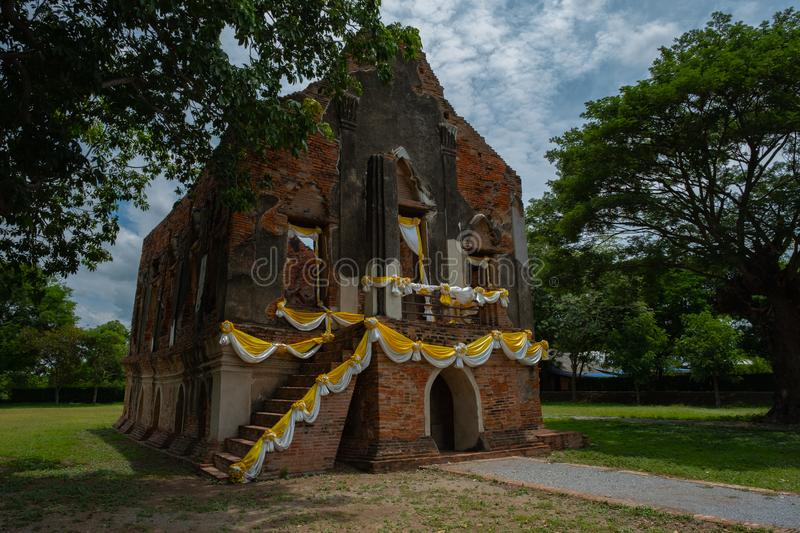 Famous place in Angthong Thailand & x28;Phra Tamnak Kham Yat. Ancient, architecture, art, asia, attraction, ayutthaya, brick, building, city, decoration royalty free stock photos