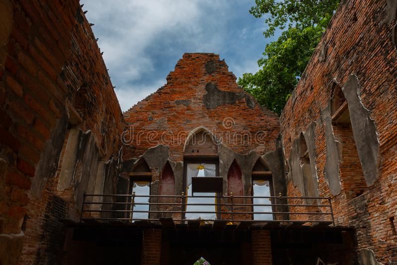 Famous place in Angthong Thailand & x28;Phra Tamnak Kham Yat. Ancient, architecture, art, asia, attraction, ayutthaya, brick, building, city, decoration stock images