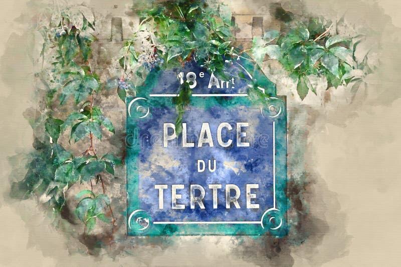 Famous Place du Tertre in Montmartre - het kunstendistrict in Parijs vector illustratie