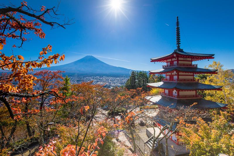 Famous Place of Japan with Chureito pagoda and Mount Fuji stock photography
