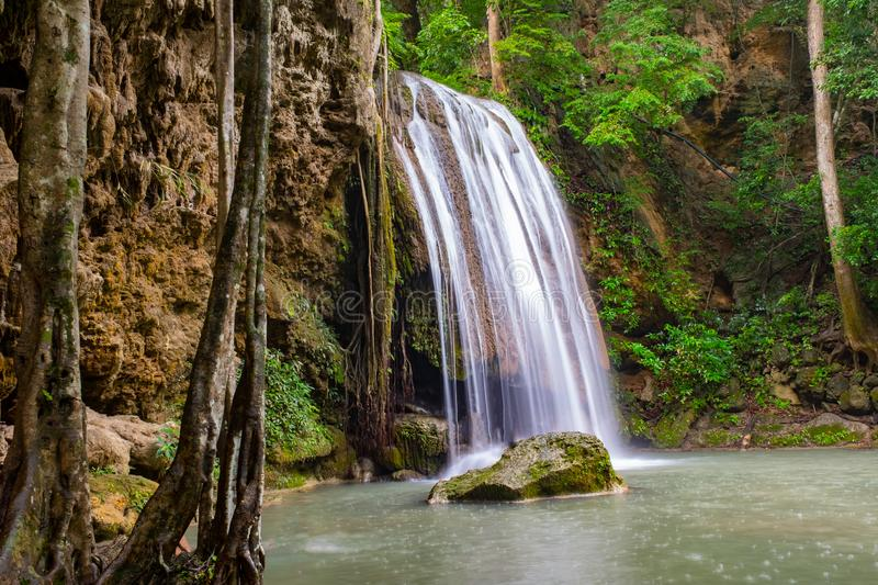 Famous place in Thailand (Arawan water fall royalty free stock photography