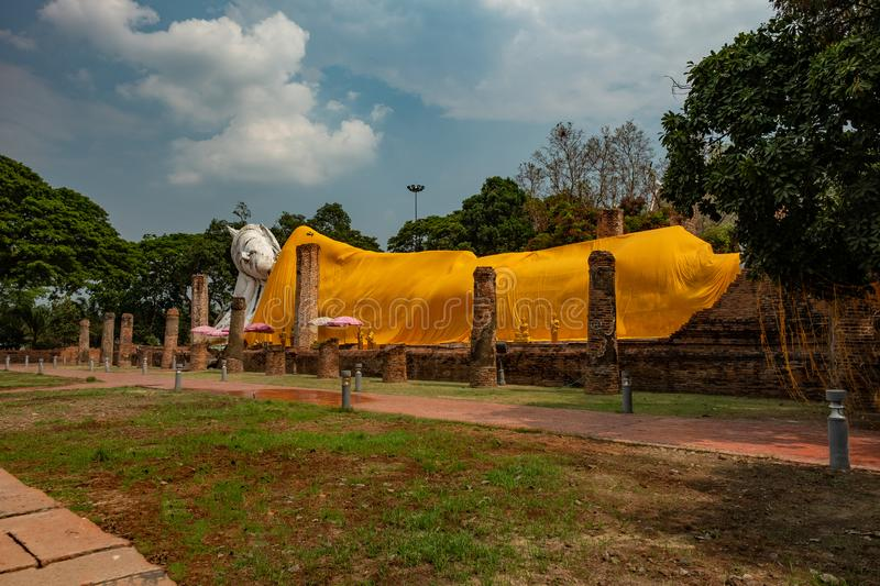 Famous place in Thailand & x28;Khuninthapramun temple , large reclining Buddha statue royalty free stock images