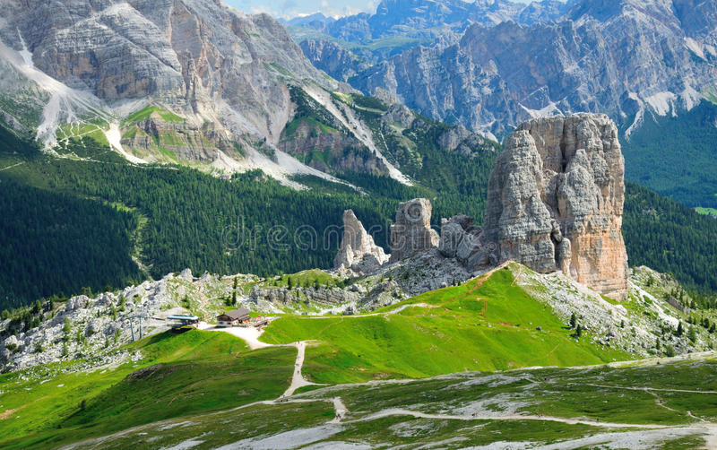 Famous place of the world, Cinque Terre near Cortina in Italian Dolomites. stock photography