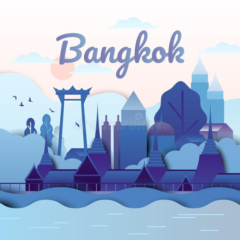 Famous places in Bangkok, Thailand, blue and purple tones, paper cut. Ting style stock illustration