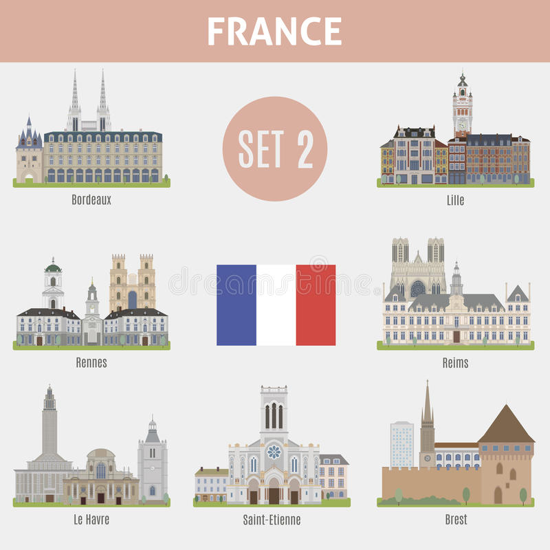 famous places cities in france stock vector image 74901204. Black Bedroom Furniture Sets. Home Design Ideas