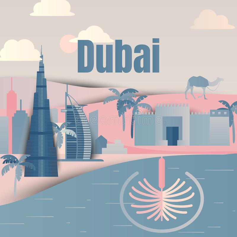 Famous places in Dubai, United Arab Emirates, blue and pink tones, paper cut. Ting style vector illustration