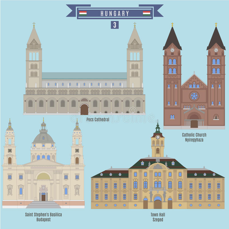 Famous Places in Hungary. Pecs Cathedral, Catholic Church - Nyiregyhaza, Saint Stephen`s Basilica - Budapest, Town Hall - Szeged royalty free illustration