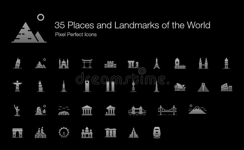 Famous Places and Important Landmarks of the World Icon Set for Black Background. 35 Places and Landmarks of the World Pixel Perfect Icons Filled Style Shadow royalty free illustration