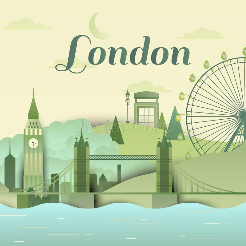 Famous places in London, England, green and blue tones, paper cut. Ting style stock illustration