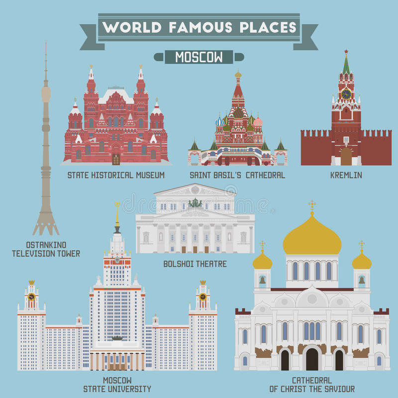 Famous Places of Moscow, Russia stock illustration