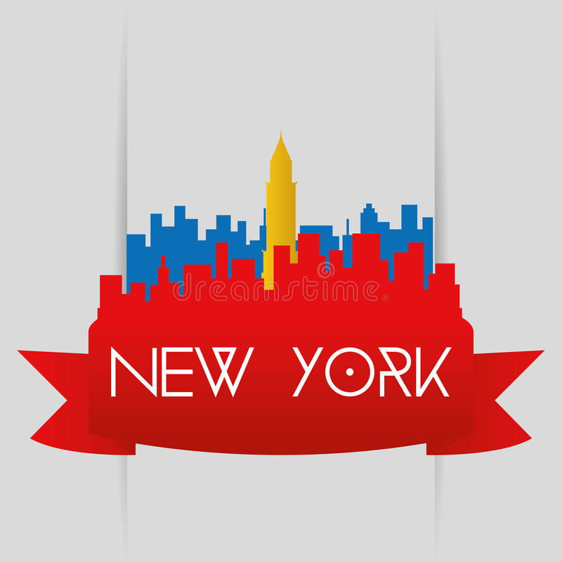 Famous places. A red cityscape with a silhouette of the chrysler building royalty free illustration