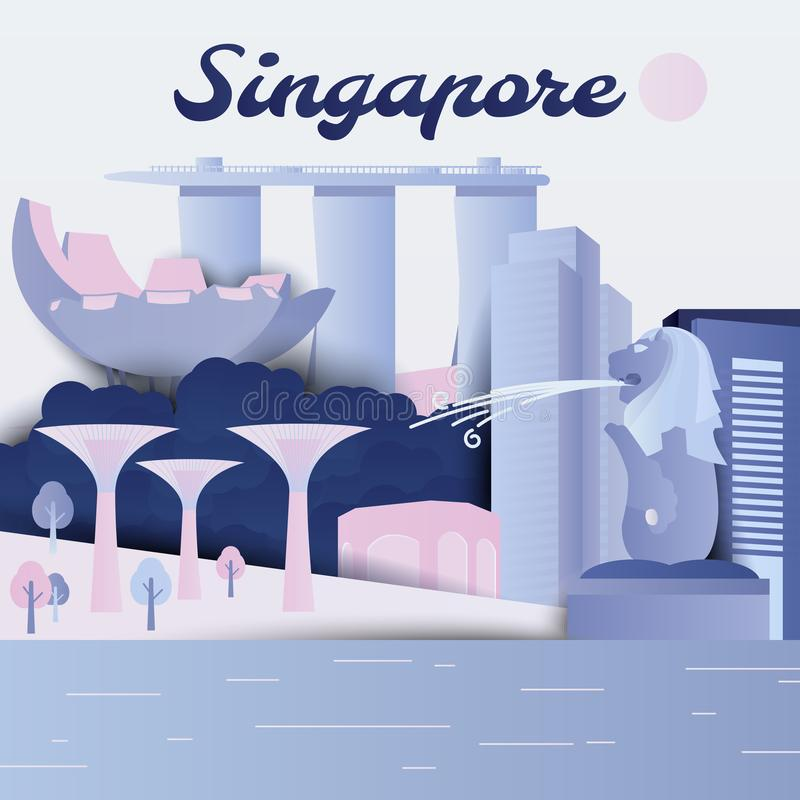 Famous places in Republic of Singapore, purple and blue tones, paper cut. Ting style stock illustration