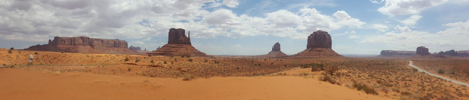 Desert Panorama United States Monument Valley Arizona. Famous places of United States of America USA: Panorama of Monument Valley Landscape Arizona Utah; scene royalty free stock photo