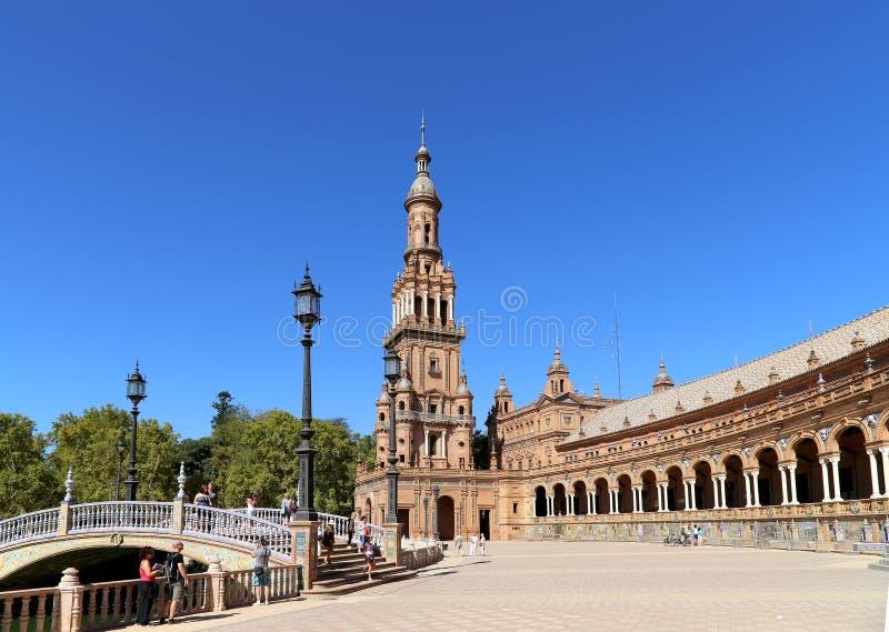 Famous Plaza de西班牙-西班牙正方形在塞维利亚,安大路西亚,西班牙 老地标 免版税库存图片