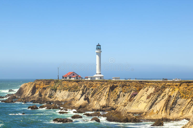 Famous Point Arena Lighthouse in California stock images