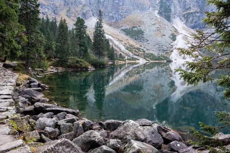 Mountain lake Morskie Oko in Tatra Mountains, Poland. Famous polish landscape - mountain lake Morskie Oko, Tatra Mountains, Poland royalty free stock photo