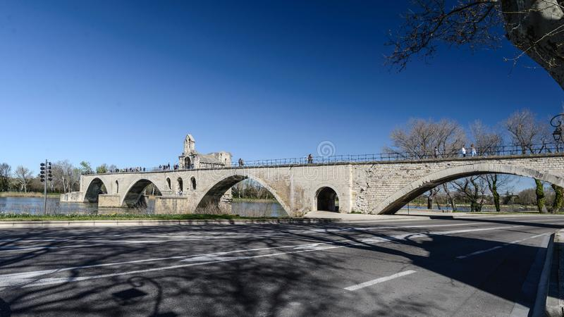 The famous Pont Saint-Bénézet also known as the Pont d`Avignon , medieval bridge in the town of Avignon royalty free stock photography