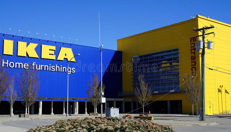 Famous and popular Ikea store building in blue and yellow color, symbol of Sweden. stock photo