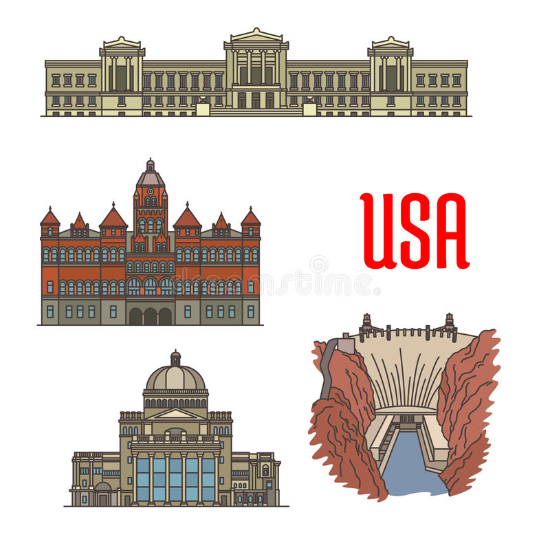 Famous popular tourist attractions of USA stock illustration