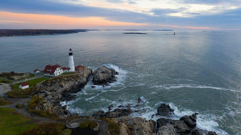 Famous Portland Head Light Atlantic Coast Lighthouse stock photography