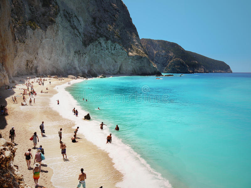 Famous Porto Katsiki beach, Lefkada, Greece royalty free stock photography