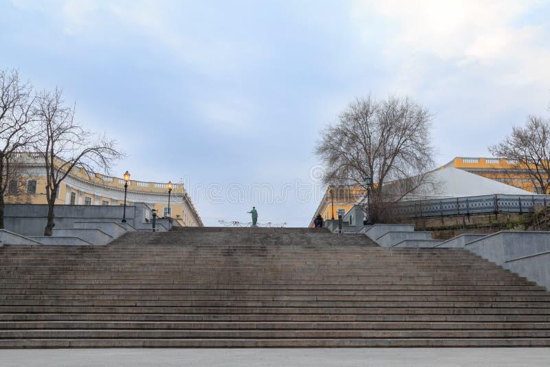 Famous potemkin steps with duke richelieu statue in Odessa, Ukraine stock image