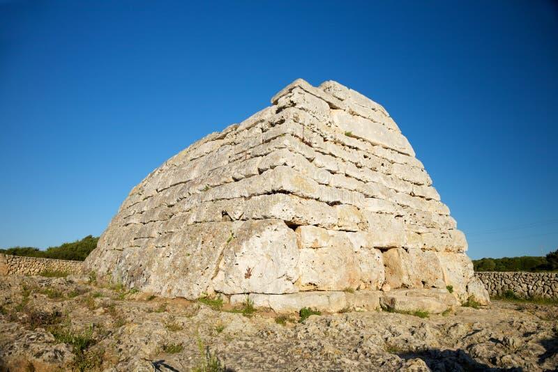 Famous prehistoric monument at Menorca. Naveta des Tudons prehistoric monument at Menorca Island in Spain royalty free stock photos